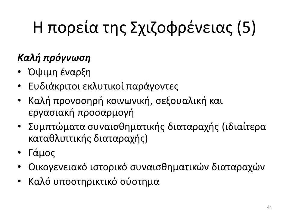 Η πορεία της Σχιζοφρένειας (5) Καλή πρόγνωση Όψιμη έναρξη Ευδιάκριτοι εκλυτικοί παράγοντες Καλή προνοσηρή κοινωνική, σεξουαλική και εργασιακή προσαρμο