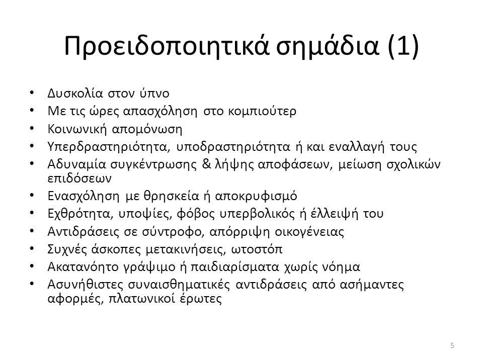 a.Δύο από τα παρακάτω για σημαντικό ποσοστό διάρκειας, για τουλάχιστον ένα μήνα: Παραληρητικές ιδέες Ψευδαισθήσεις Αποδιοργανωμένος λόγος (πχ συχνός εκτροχιασμός ή ασυναρτησία) Έντονα αποδιοργανωμένη ή κατατονική συμπεριφορά Αρνητικά συμπτώματα (πχ συναισθηματική επιπέδωση, αλογία ή αβουλησία) 26