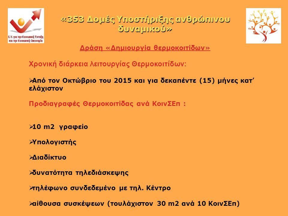 Δράση «Δημιουργία θερμοκοιτίδων» Χρονική διάρκεια λειτουργίας Θερμοκοιτίδων:  Από τον Οκτώβριο του 2015 και για δεκαπέντε (15) μήνες κατ' ελάχιστον Προδιαγραφές Θερμοκοιτίδας ανά ΚοινΣΕπ :  10 m2 γραφείο  Υπολογιστής  Διαδίκτυο  δυνατότητα τηλεδιάσκεψης  τηλέφωνο συνδεδεμένο με τηλ.