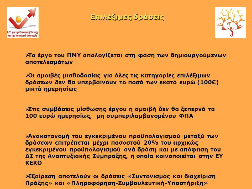  Το έργο του ΠΜΥ απολογίζεται στη φάση των δημιουργούμενων αποτελεσμάτων  Οι αμοιβές μισθοδοσίας για όλες τις κατηγορίες επιλέξιμων δράσεων δεν θα υπερβαίνουν το ποσό των εκατό ευρώ (100€) μικτά ημερησίως  Στις συμβάσεις μίσθωσης έργου η αμοιβή δεν θα ξεπερνά τα 100 ευρώ ημερησίως, μη συμπεριλαμβανομένου ΦΠΑ  Ανακατανομή του εγκεκριμένου προϋπολογισμού μεταξύ των δράσεων επιτρέπεται μέχρι ποσοστού 20% του αρχικώς εγκεκριμένου προϋπολογισμού ανά δράση και με απόφαση του ΔΣ της Αναπτυξιακής Σύμπραξης, η οποία κοινοποιείται στην ΕΥ ΚΕΚΟ  Εξαίρεση αποτελούν οι δράσεις «Συντονισμός και διαχείριση Πράξης» και «Πληροφόρηση-Συμβουλευτική-Υποστήριξη» Επιλέξιμες δράσεις