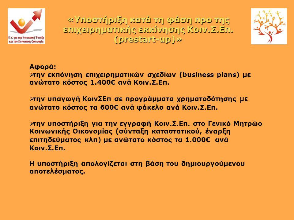 Αφορά:  την εκπόνηση επιχειρηματικών σχεδίων (business plans) με ανώτατο κόστος 1.400€ ανά Κοιν.Σ.Επ.