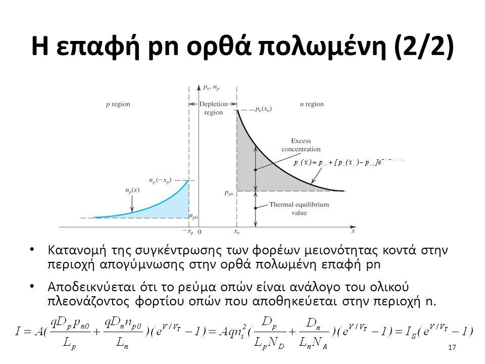 Η επαφή pn ορθά πολωμένη (2/2) Κατανομή της συγκέντρωσης των φορέων μειονότητας κοντά στην περιοχή απογύμνωσης στην ορθά πολωμένη επαφή pn Αποδεικνύετ