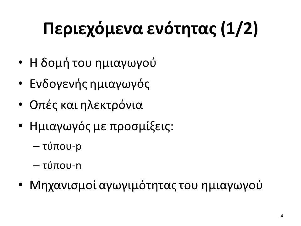Περιεχόμενα ενότητας (2/2) Η επαφή pn: – χωρίς πόλωση – ορθά πολωμένη – ανάστροφα πολωμένη Το φαινόμενο της κατάρρευσης της επαφής pn Η χαρακτηριστική τάσης - ρεύματος της διόδου επαφής pn 5