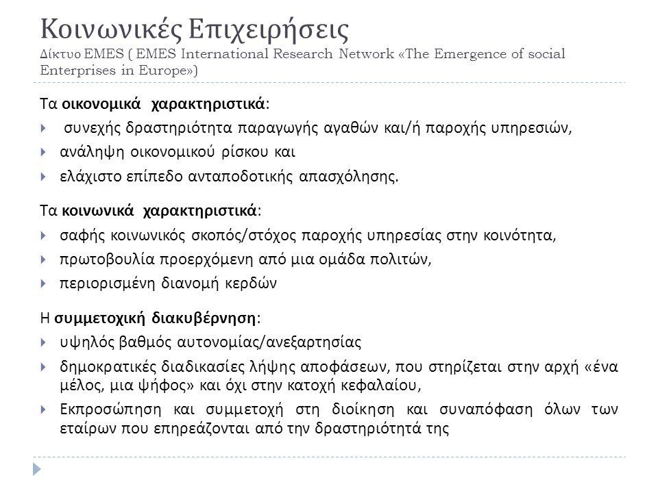 Κοινωνικές Επιχειρήσεις Δίκτυο EMES ( EMES International Research Network «The Emergence of social Enterprises in Europe») Τα οικονομικά χαρακτηριστικά :  συνεχής δραστηριότητα παραγωγής αγαθών και / ή παροχής υπηρεσιών,  ανάληψη οικονομικού ρίσκου και  ελάχιστο επίπεδο ανταποδοτικής απασχόλησης.