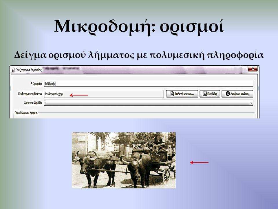Μικροδομή: ορισμοί Δείγμα ορισμού λήμματος με πολυμεσική πληροφορία