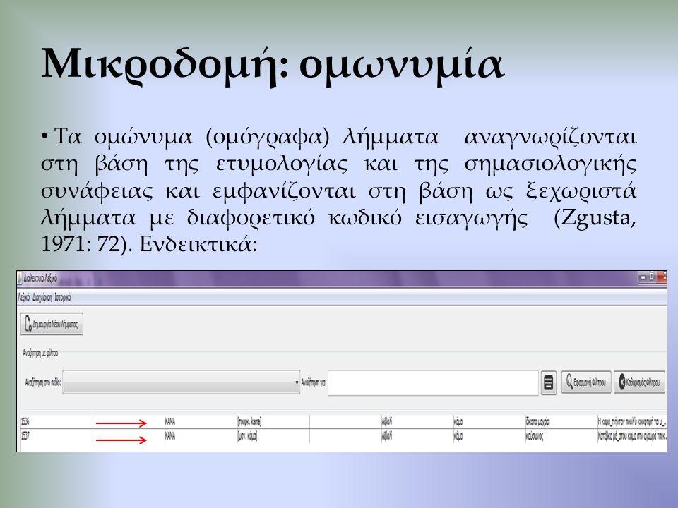 Τα ομώνυμα (ομόγραφα) λήμματα αναγνωρίζονται στη βάση της ετυμολογίας και της σημασιολογικής συνάφειας και εμφανίζονται στη βάση ως ξεχωριστά λήμματα με διαφορετικό κωδικό εισαγωγής (Zgusta, 1971: 72).