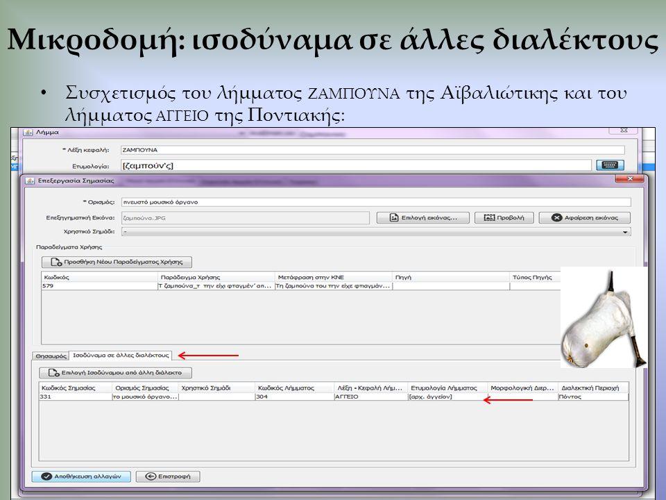 Συσχετισμός του λήμματος ΖΑΜΠΟΥΝΑ της Αϊβαλιώτικης και του λήμματος ΑΓΓΕΙΟ της Ποντιακής: Μικροδομή: ισοδύναμα σε άλλες διαλέκτους