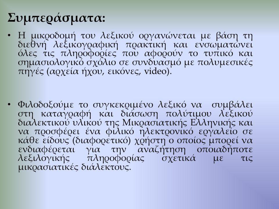 Η μικροδομή του λεξικού οργανώνεται με βάση τη διεθνή λεξικογραφική πρακτική και ενσωματώνει όλες τις πληροφορίες που αφορούν το τυπικό και σημασιολογικό σχόλιο σε συνδυασμό με πολυμεσικές πηγές (αρχεία ήχου, εικόνες, video).
