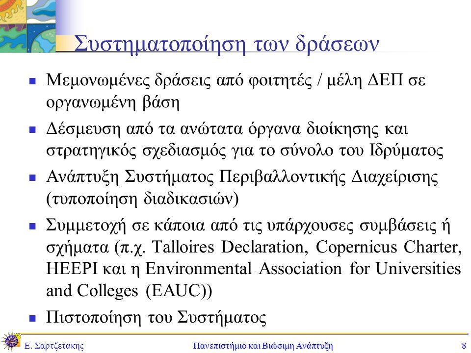 Ε. ΣαρτζετακηςΠανεπιστήμιο και Βιώσιμη Ανάπτυξη8 Συστηματοποίηση των δράσεων Μεμονωμένες δράσεις από φοιτητές / μέλη ΔΕΠ σε οργανωμένη βάση Δέσμευση α