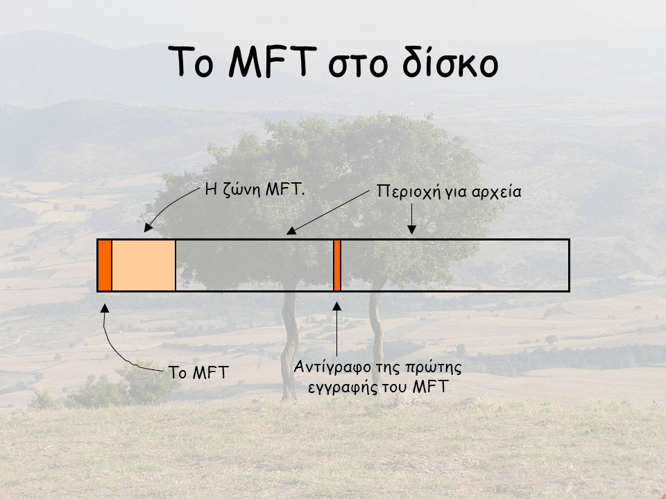 Το MFT στο δίσκο Περιοχή για αρχεία Αντίγραφο της πρώτης εγγραφής του MFT Το MFT Η ζώνη MFT.