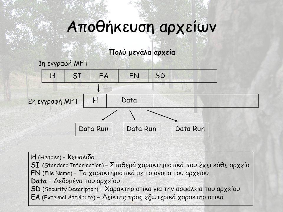 Αποθήκευση αρχείων Πολύ μεγάλα αρχεία Data Run H Data HSIEA SD FN 2η εγγραφή MFT 1η εγγραφή MFT H (Header) – Κεφαλίδα SI (Standard Information) – Σταθερά χαρακτηριστικά που έχει κάθε αρχείο FN (File Name) – Τα χαρακτηριστικά με το όνομα του αρχείου Data – Δεδομένα του αρχείου SD (Security Descriptor) – Χαρακτηριστικά για την ασφάλεια του αρχείου EA (External Attribute) – Δείκτης προς εξωτερικά χαρακτηριστικά