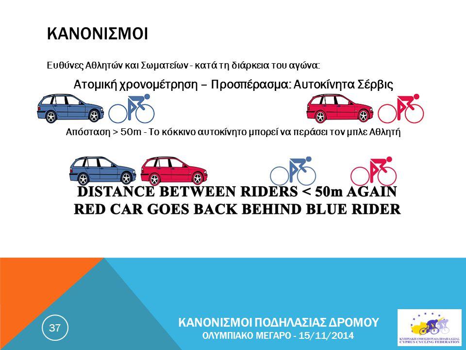 ΚΑΝΟΝΙΣΜΟΙ Ευθύνες Αθλητών και Σωματείων - κατά τη διάρκεια του αγώνα: Ατομική χρονομέτρηση – Προσπέρασμα: Αυτοκίνητα Σέρβις Απόσταση > 50m - Το κόκκινο αυτοκίνητο μπορεί να περάσει τον μπλε Αθλητή ΚΑΝΟΝΙΣΜΟΙ ΠΟΔΗΛΑΣΙΑΣ ΔΡΟΜΟΥ ΟΛΥΜΠΙΑΚΟ ΜΕΓΑΡΟ - 15/11/2014 37