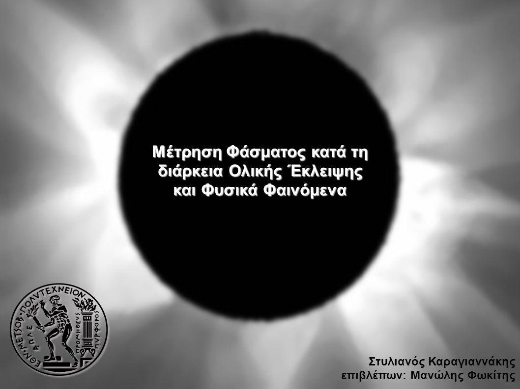 Μέτρηση Φάσματος κατά τη διάρκεια Ολικής Έκλειψης και Φυσικά Φαινόμενα Στυλιανός Καραγιαννάκης επιβλέπων: Μανώλης Φωκίτης