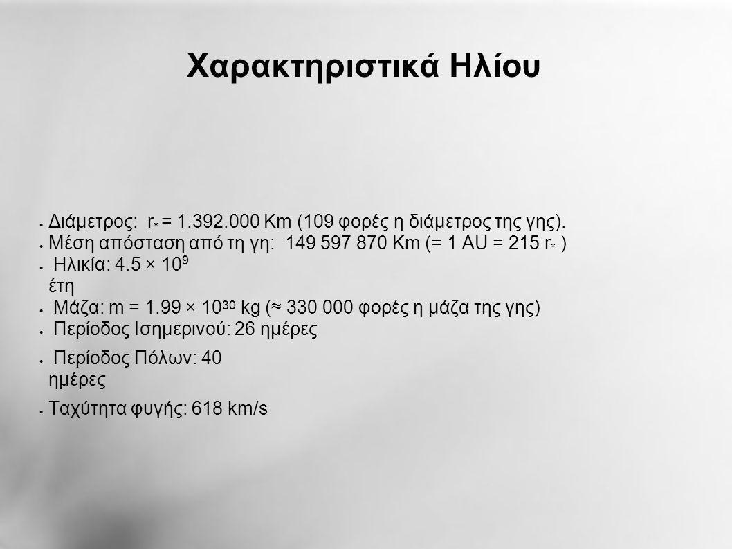 Χαρακτηριστικά Ηλίου  Διάμετρος: r * = 1.392.000 Km (109 φορές η διάμετρος της γης).