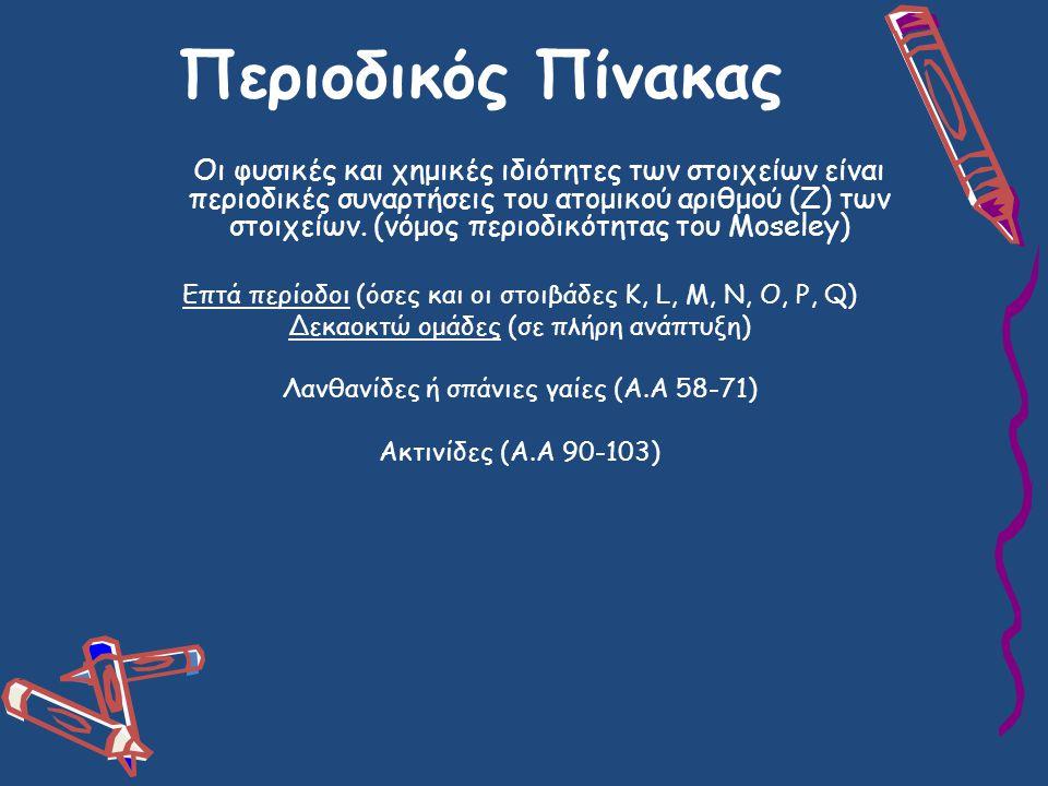 Περιοδικός Πίνακας Οι φυσικές και χημικές ιδιότητες των στοιχείων είναι περιοδικές συναρτήσεις του ατομικού αριθμού (Ζ) των στοιχείων.