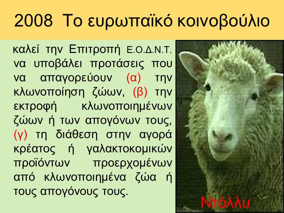 2008 Το ευρωπαϊκό κοινοβούλιο καλεί την Επιτροπή Ε.Ο.Δ.Ν.Τ. να υποβάλει προτάσεις που να απαγορεύουν (α) την κλωνοποίηση ζώων, (β) την εκτροφή κλωνοπο