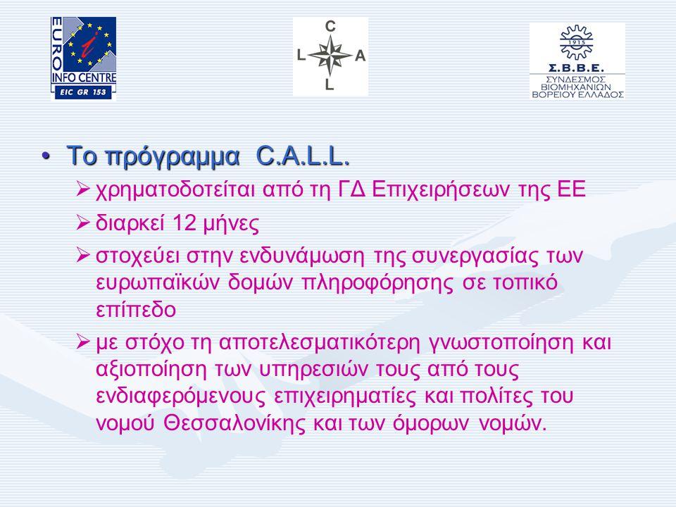 Ευρωπαϊκό Πρόγραμμα C.A.L.L. Πρωτοβουλία της Ε.Ε. για την Ενδυνάμωση της Συνεργασίας σε Τοπικό Επίπεδο (Enhancement of Co-operation At Local Level) Μά