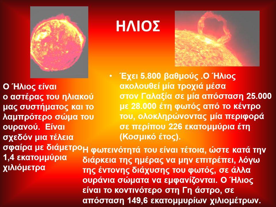 ΗΛΙΟΣ Έχει 5.800 βαθμούς.Ο Ήλιος ακολουθεί μία τροχιά μέσα στον Γαλαξία σε μία απόσταση 25.000 με 28.000 έτη φωτός από το κέντρο του, ολοκληρώνοντας μ
