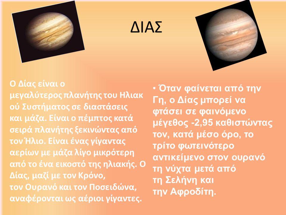 ΔΙΑΣ Όταν φαίνεται από την Γη, ο Δίας μπορεί να φτάσει σε φαινόμενο μέγεθος -2,95 καθιστώντας τον, κατά μέσο όρο, το τρίτο φωτεινότερο αντικείμενο στο