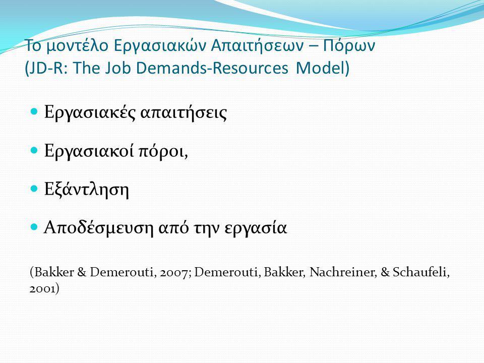 Οι εργασιακές απαιτήσεις αναφέρονται στις σωματικές, κοινωνικές ή οργανωτικές πλευρές της εργασίας, οι οποίες απαιτούν διαρκή σωματική ή πνευματική προσπάθεια και σχετίζονται με συγκεκριμένες σωματικές και ψυχολογικές θυσίες (Demerouti και συν., 2001) Οι εργασιακοί πόροι αναφέρονται στις σωματικές, ψυχολογικές, κοινωνικές ή οργανωτικές πλευρές της εργασίας, οι οποίες μπορούν να: α) είναι λειτουργικές ως προς την επίτευξη των εργασιακών στόχων β) μειώνουν τις εργασιακές απαιτήσεις που συνδέονται με τις φυσικές και ψυχολογικές θυσίες γ) προωθούν την προσωπική ανάπτυξη και εξέλιξη (Bakker & Demerouti, 2007; Demerouti και συν., 2001) Το μοντέλο Εργασιακών Απαιτήσεων – Πόρων (JD-R: The Job Demands-Resources Model)
