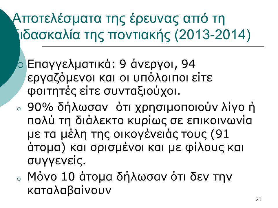 Αποτελέσματα της έρευνας από τη διδασκαλία της ποντιακής (2013-2014)  Επαγγελματικά: 9 άνεργοι, 94 εργαζόμενοι και οι υπόλοιποι είτε φοιτητές είτε συνταξιούχοι.