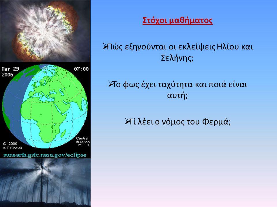 Στόχοι μαθήματος  Πώς εξηγούνται οι εκλείψεις Ηλίου και Σελήνης;  Το φως έχει ταχύτητα και ποιά είναι αυτή;  Τί λέει ο νόμος του Φερμά;
