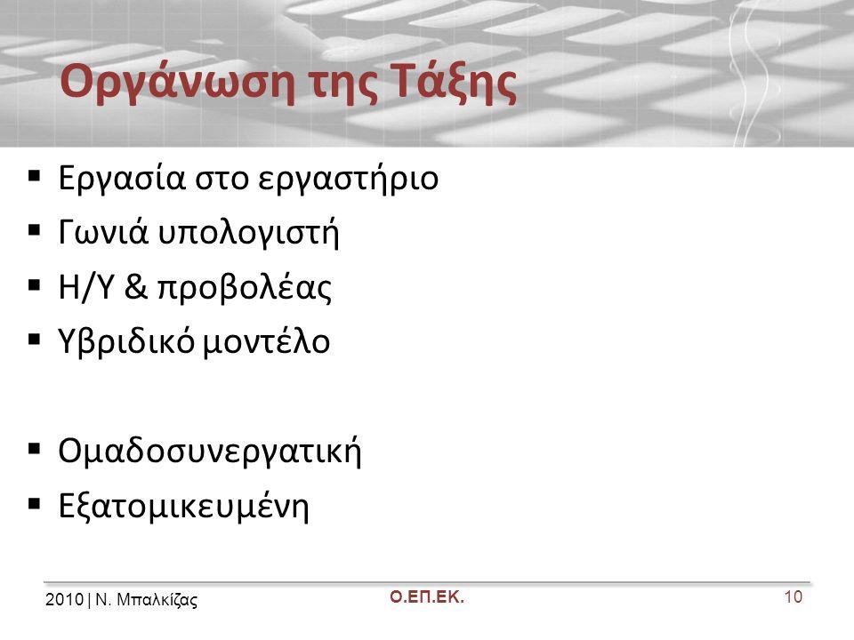 2010 | Ν. Μπαλκίζας Ο.ΕΠ.ΕΚ. Οργάνωση της Τάξης  Εργασία στο εργαστήριο  Γωνιά υπολογιστή  Η/Υ & προβολέας  Υβριδικό μοντέλο  Ομαδοσυνεργατική 