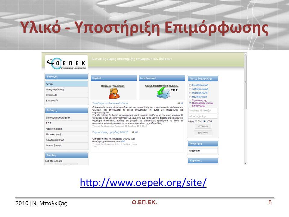 2010 | Ν. Μπαλκίζας Ο.ΕΠ.ΕΚ. Υλικό - Υποστήριξη Επιμόρφωσης 5 http://www.oepek.org/site/