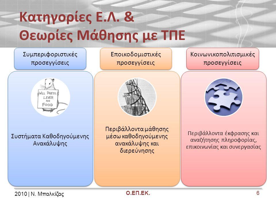2010 | Ν. Μπαλκίζας Ο.ΕΠ.ΕΚ. Κατηγορίες Ε.Λ. & Θεωρίες Μάθησης με ΤΠΕ 6 Συστήματα Καθοδηγούμενης Ανακάλυψης Περιβάλλοντα μάθησης μέσω καθοδηγούμενης α