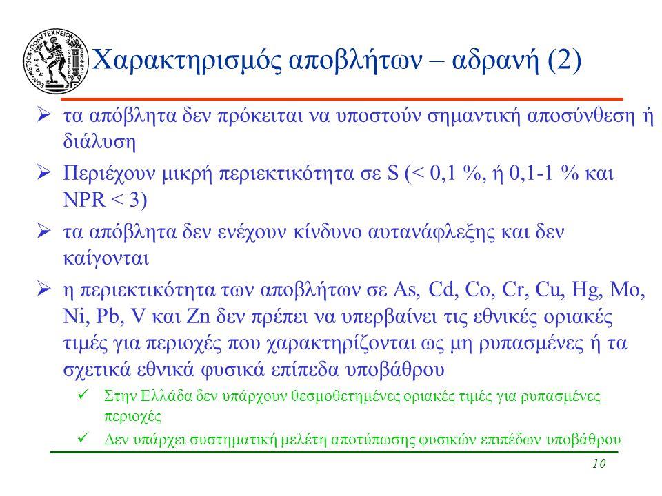 10 Χαρακτηρισμός αποβλήτων – αδρανή (2)  τα απόβλητα δεν πρόκειται να υποστούν σημαντική αποσύνθεση ή διάλυση  Περιέχουν μικρή περιεκτικότητα σε S (< 0,1 %, ή 0,1-1 % και NPR < 3)  τα απόβλητα δεν ενέχουν κίνδυνο αυτανάφλεξης και δεν καίγονται  η περιεκτικότητα των αποβλήτων σε As, Cd, Co, Cr, Cu, Hg, Mo, Ni, Pb, V και Zn δεν πρέπει να υπερβαίνει τις εθνικές οριακές τιμές για περιοχές που χαρακτηρίζονται ως μη ρυπασμένες ή τα σχετικά εθνικά φυσικά επίπεδα υποβάθρου Στην Ελλάδα δεν υπάρχουν θεσμοθετημένες οριακές τιμές για ρυπασμένες περιοχές Δεν υπάρχει συστηματική μελέτη αποτύπωσης φυσικών επιπέδων υποβάθρου