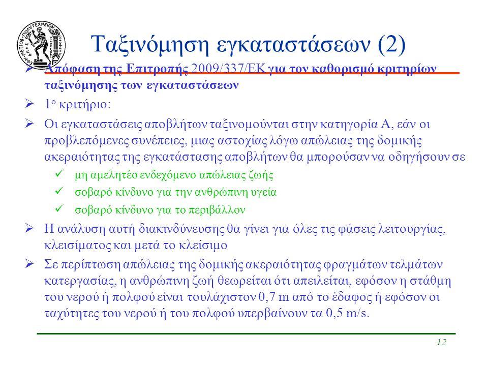 12 Ταξινόμηση εγκαταστάσεων (2)  Απόφαση της Επιτροπής 2009/337/ΕΚ για τον καθορισμό κριτηρίων ταξινόμησης των εγκαταστάσεων  1 ο κριτήριο: Δομική ακεραιότητα  Οι εγκαταστάσεις αποβλήτων ταξινομούνται στην κατηγορία Α, εάν οι προβλεπόμενες συνέπειες, μιας αστοχίας λόγω απώλειας της δομικής ακεραιότητας της εγκατάστασης αποβλήτων θα μπορούσαν να οδηγήσουν σε μη αμελητέο ενδεχόμενο απώλειας ζωής σοβαρό κίνδυνο για την ανθρώπινη υγεία σοβαρό κίνδυνο για το περιβάλλον  Η ανάλυση αυτή διακινδύνευσης θα γίνει για όλες τις φάσεις λειτουργίας, κλεισίματος και μετά το κλείσιμο  Σε περίπτωση απώλειας της δομικής ακεραιότητας φραγμάτων τελμάτων κατεργασίας, η ανθρώπινη ζωή θεωρείται ότι απειλείται, εφόσον η στάθμη του νερού ή πολφού είναι τουλάχιστον 0,7 m από το έδαφος ή εφόσον οι ταχύτητες του νερού ή του πολφού υπερβαίνουν τα 0,5 m/s.