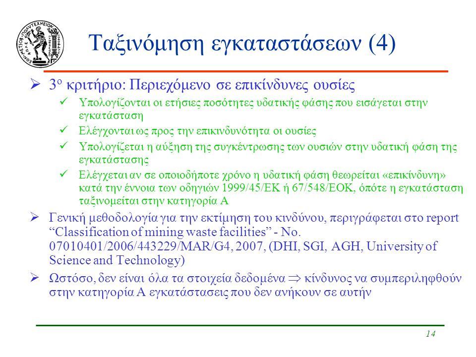 14 Ταξινόμηση εγκαταστάσεων (4)  3 ο κριτήριο: Περιεχόμενο σε επικίνδυνες ουσίες Υπολογίζονται οι ετήσιες ποσότητες υδατικής φάσης που εισάγεται στην εγκατάσταση Ελέγχονται ως προς την επικινδυνότητα οι ουσίες Υπολογίζεται η αύξηση της συγκέντρωσης των ουσιών στην υδατική φάση της εγκατάστασης Ελέγχεται αν σε οποιοδήποτε χρόνο η υδατική φάση θεωρείται «επικίνδυνη» κατά την έννοια των οδηγιών 1999/45/ΕΚ ή 67/548/ΕΟΚ, όπότε η εγκατάσταση ταξινομείται στην κατηγορία Α  Γενική μεθοδολογία για την εκτίμηση του κινδύνου, περιγράφεται στο report Classification of mining waste facilities - No.