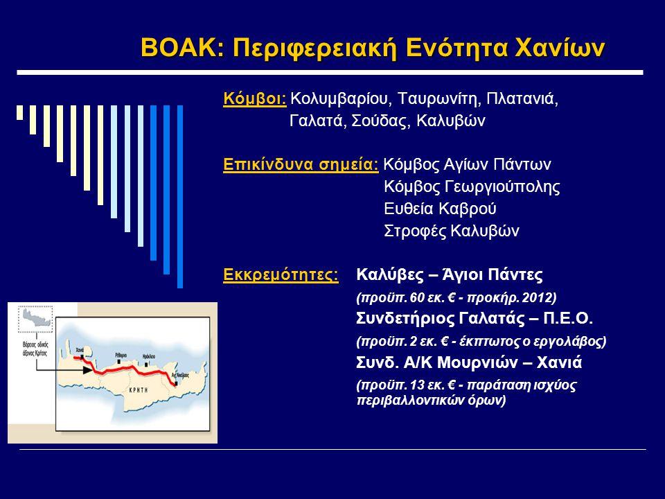 ΒΟΑΚ: Περιφερειακή Ενότητα Χανίων Κόμβοι: Κολυμβαρίου, Ταυρωνίτη, Πλατανιά, Γαλατά, Σούδας, Καλυβών Επικίνδυνα σημεία: Κόμβος Αγίων Πάντων Κόμβος Γεωργιούπολης Ευθεία Καβρού Στροφές Καλυβών Εκκρεμότητες: Καλύβες – Άγιοι Πάντες (προϋπ.