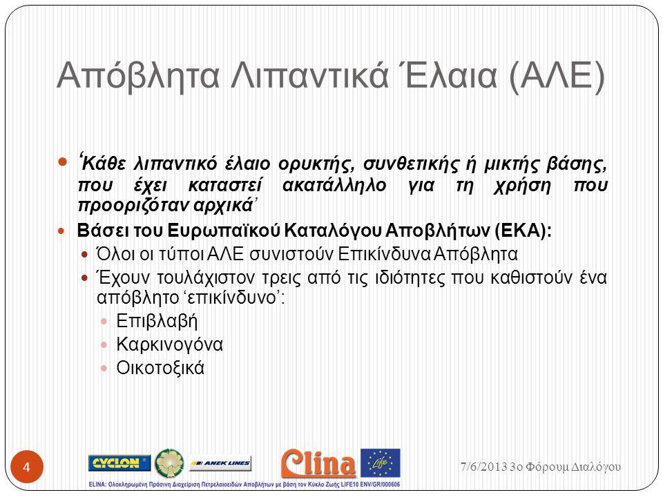 Απόβλητα Λιπαντικά Έλαια (ΑΛΕ) ' Κάθε λιπαντικό έλαιο ορυκτής, συνθετικής ή μικτής βάσης, που έχει καταστεί ακατάλληλο για τη χρήση που προοριζόταν αρ