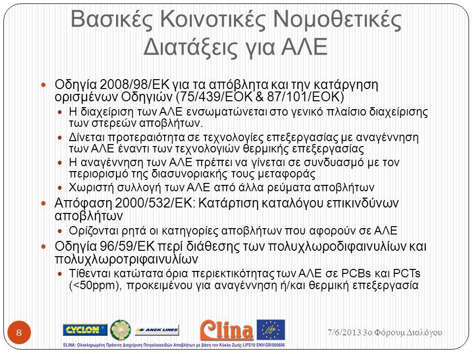 Βασικές Κοινοτικές Νομοθετικές Διατάξεις για ΑΛΕ Οδηγία 2008/98/ΕΚ για τα απόβλητα και την κατάργηση ορισμένων Οδηγιών (75/439/ΕΟΚ & 87/101/ΕΟΚ) Η δια