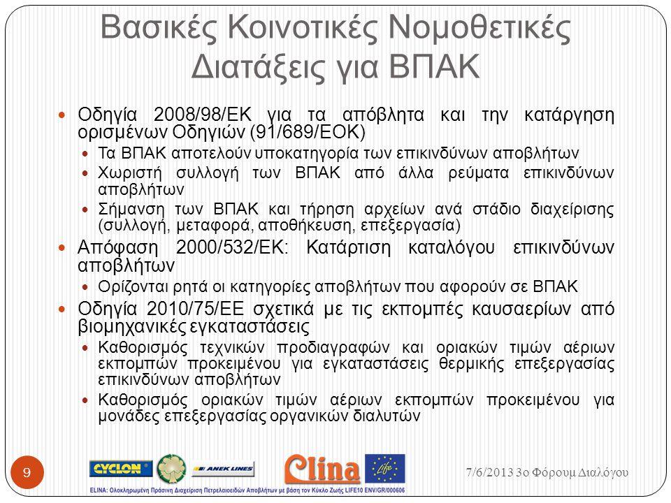 Βασικές Κοινοτικές Νομοθετικές Διατάξεις για ΒΠΑΚ Οδηγία 2008/98/ΕΚ για τα απόβλητα και την κατάργηση ορισμένων Οδηγιών (91/689/ΕΟΚ) Τα ΒΠΑΚ αποτελούν