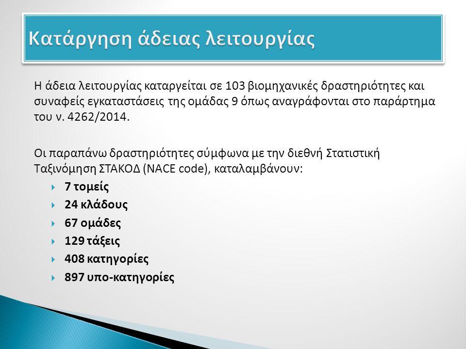 Η άδεια λειτουργίας καταργείται σε 103 βιομηχανικές δραστηριότητες και συναφείς εγκαταστάσεις της ομάδας 9 όπως αναγράφονται στο παράρτημα του ν.