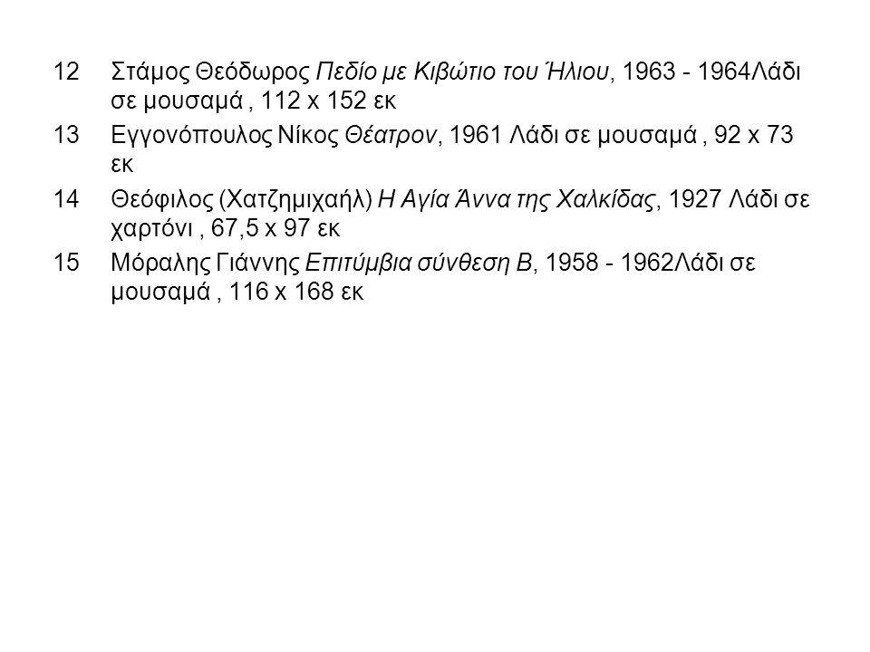 12Στάμος Θεόδωρος Πεδίο με Κιβώτιο του Ήλιου, 1963 - 1964Λάδι σε μουσαμά, 112 x 152 εκ 13Εγγονόπουλος Νίκος Θέατρον, 1961 Λάδι σε μουσαμά, 92 x 73 εκ