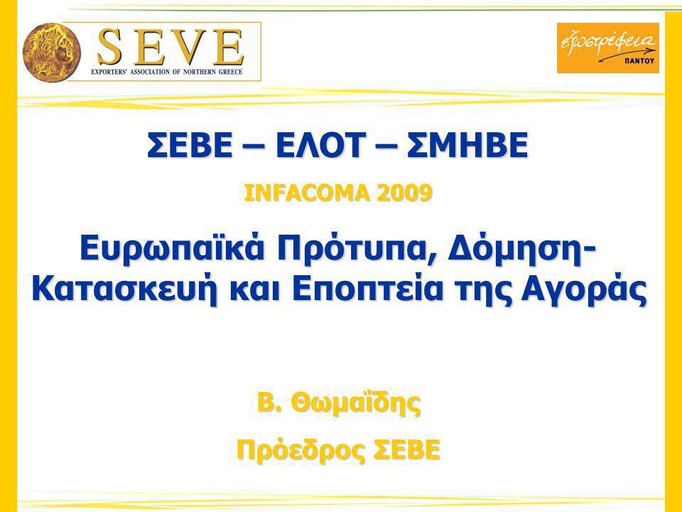 ΣΕΒΕ – ΕΛΟΤ – ΣΜΗΒΕ INFACOMA 2009 Ευρωπαϊκά Πρότυπα, Δόμηση- Κατασκευή και Εποπτεία της Αγοράς Β.
