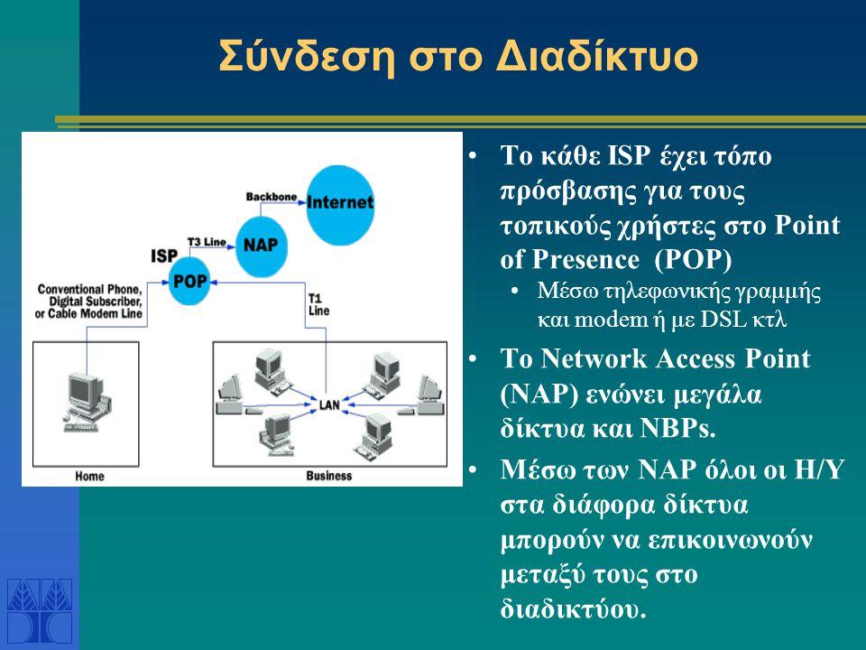 Ιεραρχική Πρόσβαση στο Διαδίκτυο Οι Τοπικοί Παροχείς Υπηρεσιών Διαδικτύου είναι οργανισμοί / εταιρίες που παρέχουν σαν υπηρεσία την πρόσβαση στο δίκτυο (Local Internet Service Providers - ISPs) Οι ISPs περιοχής (regional ISPs) παρέχουν πρόσβαση στο διαδίκτυο για μια ευρύτερη γεωγραφική περιοχή.