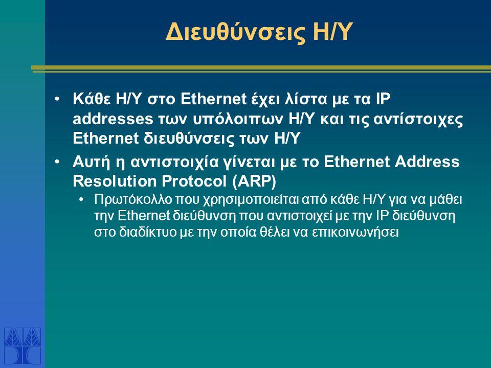 Διευθύνσεις Η/Υ στο Διαδίκτυο Κάθε host στο διαδίκτυο έχει μια διεύθυνση που λέγεται IP address.