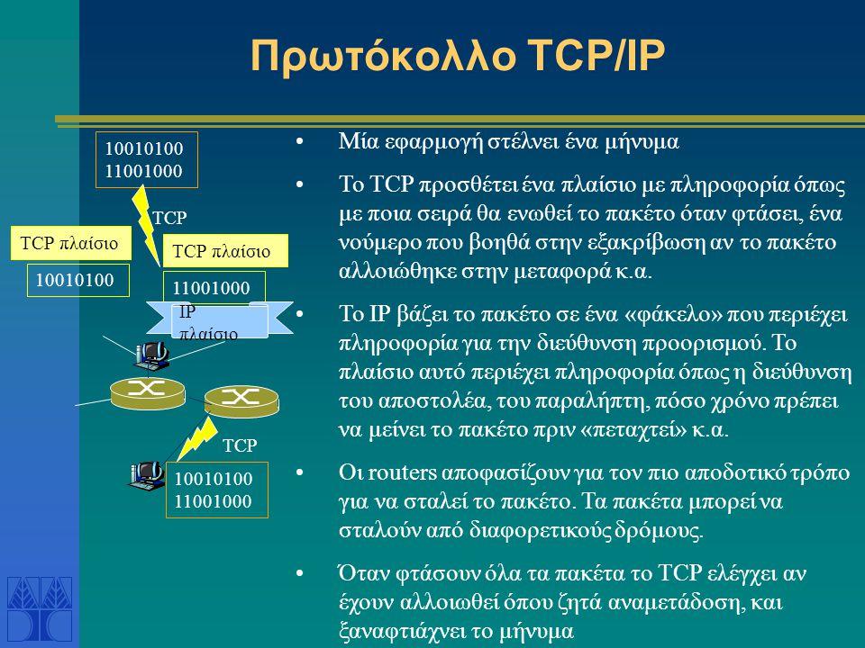 Επικοινωνία Η/Υ στο Διαδίκτυο To TCP/IP (Transmission Control Protocol/Internet Protocol) είναι το πρωτόκολλο που χρησιμοποιείται για την σύνδεση των hosts στο Διαδίκτυο και για την μετάδοση πληροφορίας στο Διαδίκτυο.