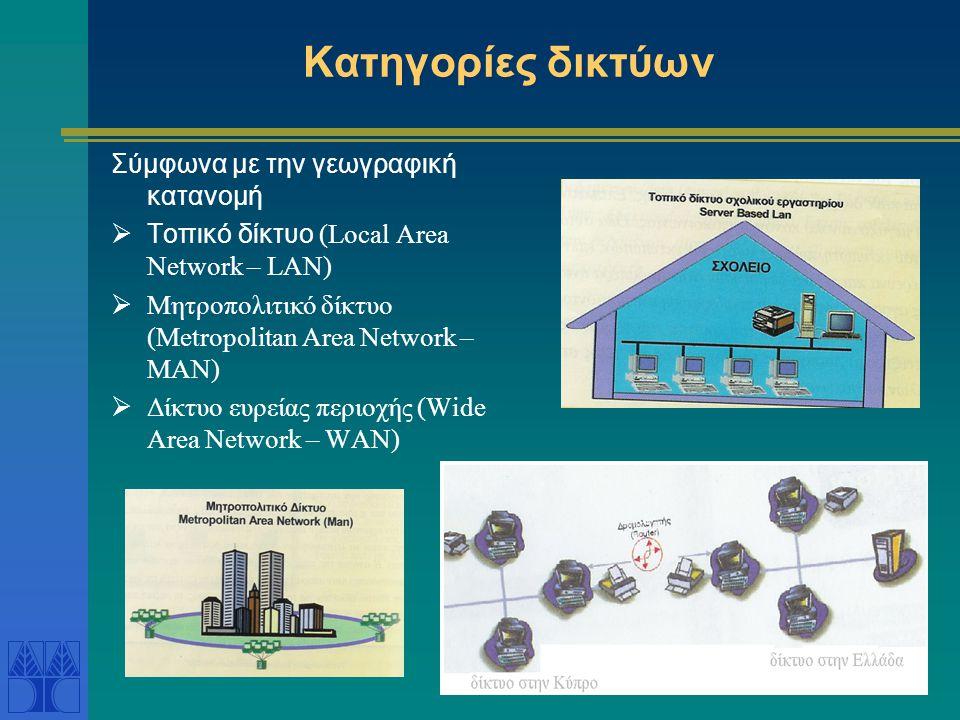 Δίκτυο ηλεκτρονικών υπολογιστών Ένα σύνολο ανεξάρτητων διασυνδεδεμένων ηλεκτρονικών υπολογιστών και άλλων ηλεκτρονικών συσκευών που είναι ικανές να ανταλλάζουν πληροφορίες.