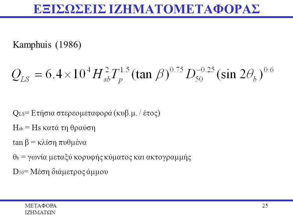 METAΦΟΡΑ ΙΖΗΜΑΤΩΝ 25 ΕΞΙΣΩΣΕΙΣ ΙΖΗΜΑΤΟΜΕΤΑΦΟΡΑΣ Kamphuis (1986) Q LS = Ετήσια στερεομεταφορά (κυβ.μ. / έτος) Η sb = Ηs κατά τη θραύση tan β = κλίση πυ