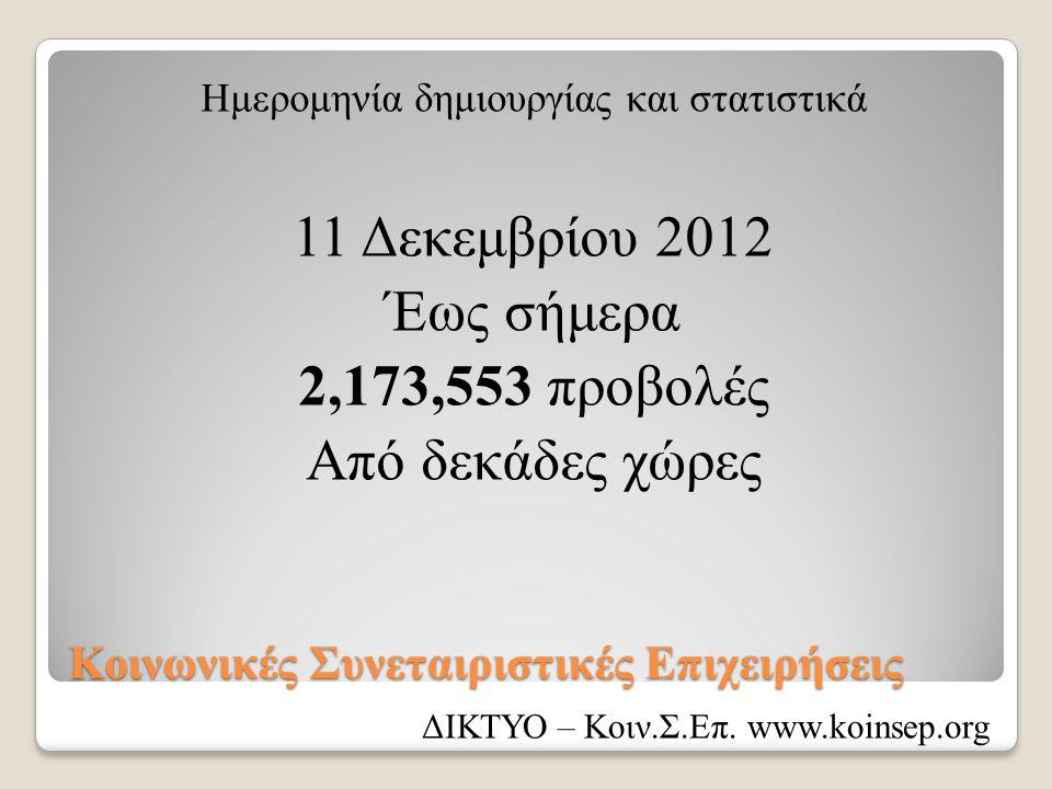Κοινωνικές Συνεταιριστικές Επιχειρήσεις Ημερομηνία δημιουργίας και στατιστικά 11 Δεκεμβρίου 2012 Έως σήμερα 2,173,553 προβολές Από δεκάδες χώρες ΔΙΚΤΥΟ – Κοιν.Σ.Επ.