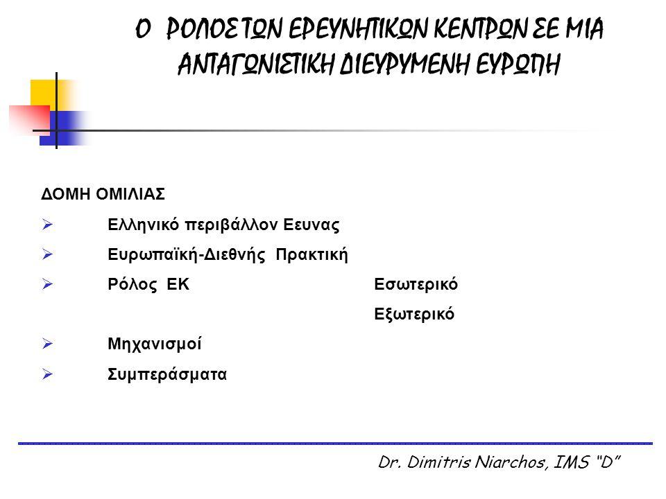"O ΡΟΛΟΣ ΤΩΝ ΕΡΕΥΝΗΤΙΚΩΝ ΚΕΝΤΡΩΝ ΣΕ ΜΙΑ ΑΝΤΑΓΩΝΙΣΤΙΚΗ ΔΙΕΥΡΥΜΕΝΗ ΕΥΡΩΠΗ Dr. Dimitris Niarchos, IMS ""D"" ΔΟΜΗ ΟΜΙΛΙΑΣ  Ελληνικό περιβάλλον Εευνας  Ευρω"