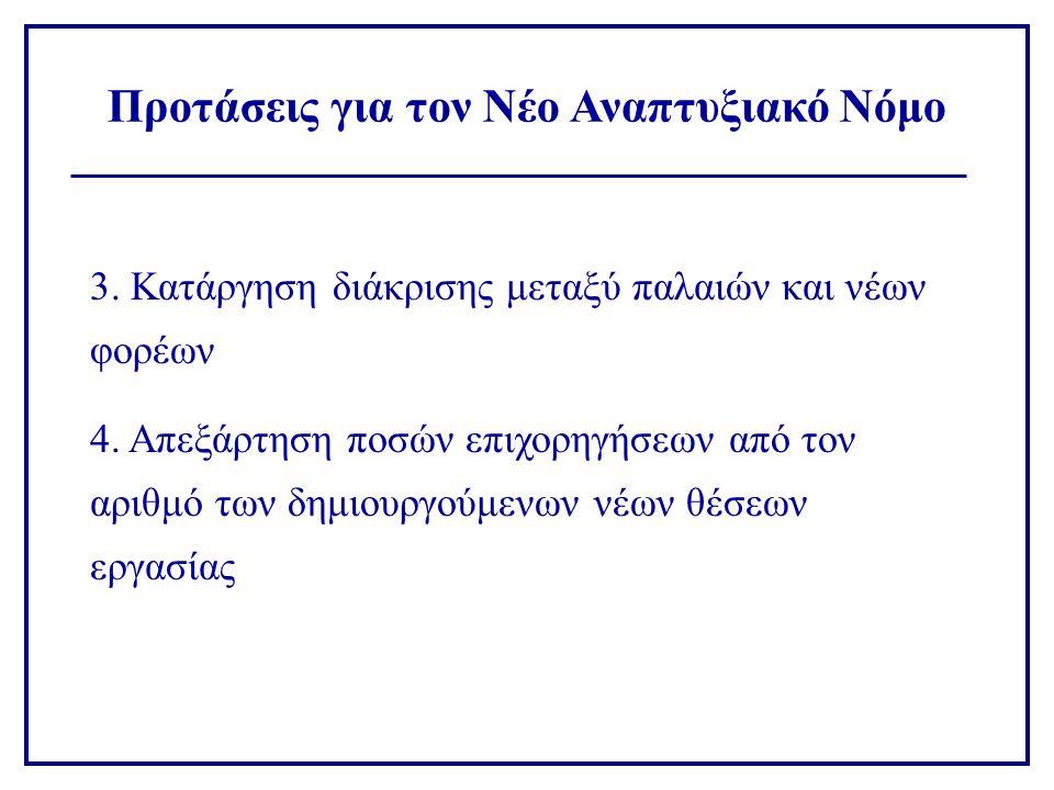 3. Κατάργηση διάκρισης μεταξύ παλαιών και νέων φορέων 4. Απεξάρτηση ποσών επιχορηγήσεων από τον αριθμό των δημιουργούμενων νέων θέσεων εργασίας Προτάσ