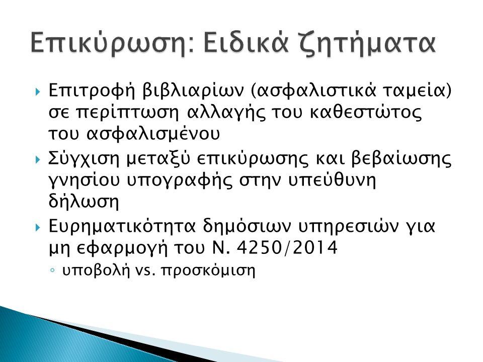  Επιτροφή βιβλιαρίων (ασφαλιστικά ταμεία) σε περίπτωση αλλαγής του καθεστώτος του ασφαλισμένου  Σύγχιση μεταξύ επικύρωσης και βεβαίωσης γνησίου υπογ