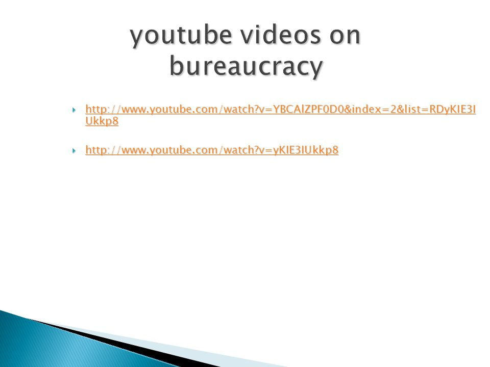 youtube videos on bureaucracy  http://www.youtube.com/watch?v=YBCAlZPF0D0&index=2&list=RDyKIE3I Ukkp8 http://www.youtube.com/watch?v=YBCAlZPF0D0&inde