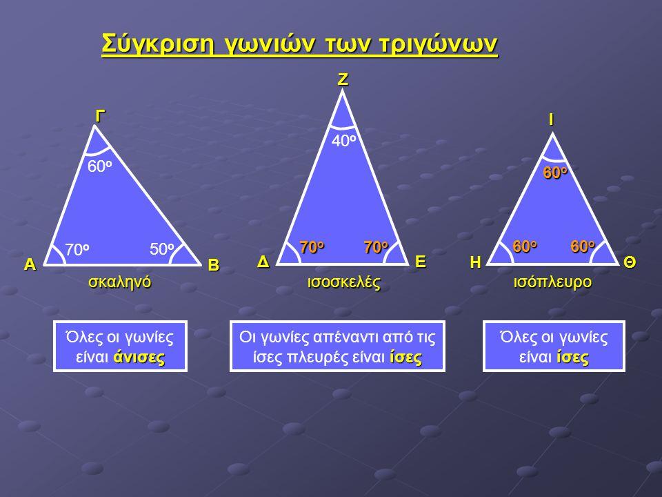 Σύγκριση γωνιών των τριγώνων άνισες Όλες οι γωνίες είναι άνισες ίσες Οι γωνίες απέναντι από τις ίσες πλευρές είναι ίσες ίσες Όλες οι γωνίες είναι ίσες